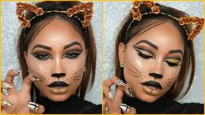 halloween full glam cat face makeup youtube