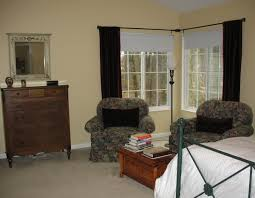 window treatments for bedrooms decorations simple corner window with velvet curtains ideas