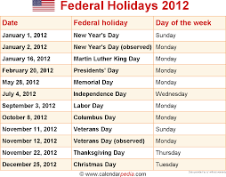 federal holidays 2012