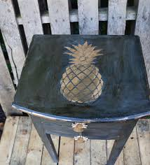 a fun tropical pineapple stenciled table upcycle pillar box blue