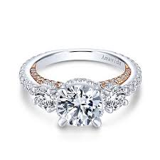 3 engagement ring 18k white and gold 3 stones halo engagement ring