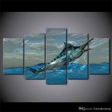 2017 5 panel hd printed jumping tuna fish sea artwork wall