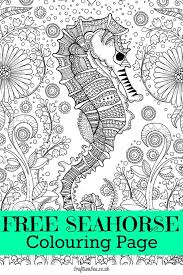 free seahorse colouring page for adults seahorses and free