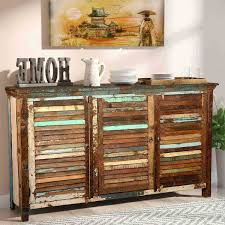 rustic reclaimed wood shutter door buffet cabinet