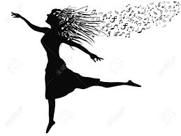 isolated a woman u0027s silhouette dancing with music note from white
