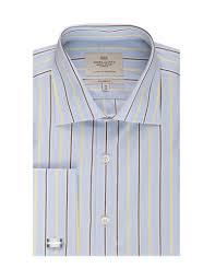 men u0027s blue u0026 yellow multi stripes classic fit dress shirt french