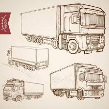 pencil sketch trucks van lorry vehicles u2014 stock vector sentavio