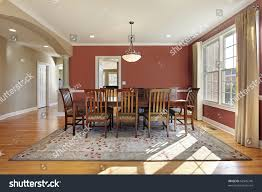 modern dining room salmon colored walls stock photo 62945740