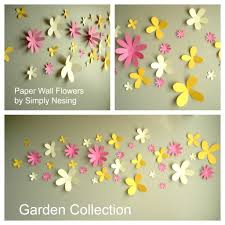Wall Flower Decor by Paper Wall Flowers Set Of 36 Flower Garden