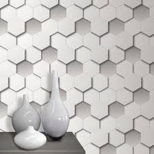 3d hexagon wallpaper geometric leather padded look white grey ebay