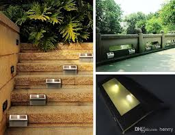 Solar Fence Lighting by 2017 Solar Lights Stainless 4led Staircase Lights Path Lights