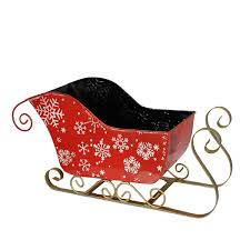 sleigh snow flakes basket container small the lucky clover
