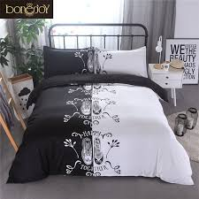 Bed Sets Black Bonenjoy Shoes Print For Lover Couples Bedding Set Black And White