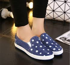 blue patterned shoes fashion blue denim canvas shoes for women star printed loafers dames