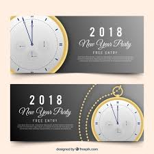 pocket new year realistic new year 2018 party banners with pocket vector