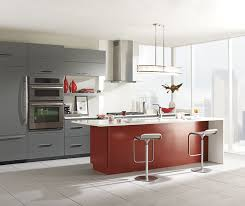Red Kitchen With White Cabinets Gray Cabinets With A Red Kitchen Island Omega Cabinetry