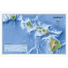 Hawaii On World Map Hawaii Physical Map National Geographic Store