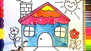 how to draw and colour a house for kids drawing and colouring