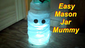 Mason Jar Halloween Diy Mason Jar Mummy Halloween Craft Youtube