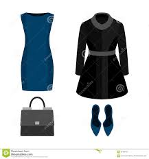 set of trendy women u0027s clothes with coat dress and accessories