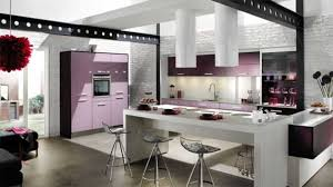 big modern kitchen light purple of panel appliances also grey island with stools also