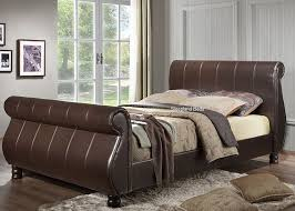 King Size Leather Bed Frame Marseille Brown Faux Leather Sleigh Bed 6ft Kingsize