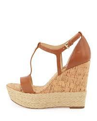 lyst michael michael kors kerri cork wedge sandal in brown