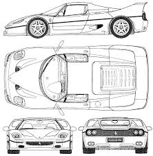 ferrari front drawing 1995 ferrari f50 coupe blueprints free outlines