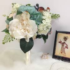 Groom S Boutonniere Cream Wedding Flower Bouquet Package Cream Rose With Silk Ribbon