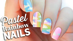 pastel rainbow nail art design youtube