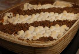 sweet potato casserole with marshmallow pecan topping