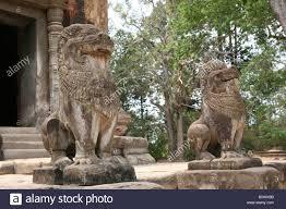 lion statues lion statues in front of preah ko a khmer temple part of 9thc