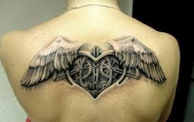 black n grey mechanic with angelic wings on back