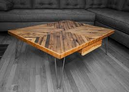 Diy Wooden Coffee Table Reclaimed Wood From Chicago Re Building Exchange And Hairpin Legs