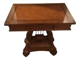 coffee table leather top antique wooden leather top music lyre table chairish