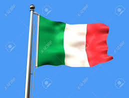 Flag Of Itali Flag Of Italy On Blue Background With Visible Fabric Texture