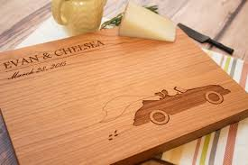 personalized cutting board groom vintage car custom wooden cutting board smiling tree