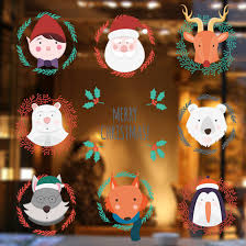 new cartoon santa claus elk wall sticker shop window sticker new cartoon santa claus elk wall sticker shop window sticker wallpaper christmas home living room decor mural art poster