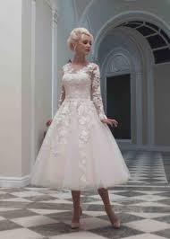 tea length dress luxurious tea length illusion tulle a line wedding dress ahm0017