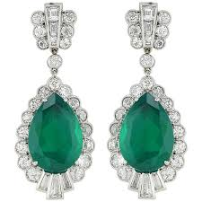 diamond earrings for sale pear shape emerald diamond earrings for sale at 1stdibs