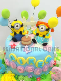 Minions Sugarcraft Birthday Cake Coup Le Love Version 3d Cake