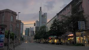 frankfurt germany july 01 2016 view to the evening city with