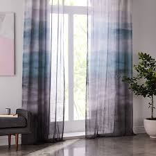 Ombre Window Curtains Sheer Cotton Painted Ombre Curtains Set Of 2 Moonstone West Elm