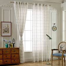 blue and white gingham print linen contemporary sheer curtains
