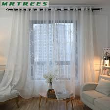 Embroidered Sheer Curtains Mrtrees Modern Embroidered Sheer Curtains Tulle Window Curtains