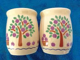 Pottery Kitchen Canisters New Avenues Orchard Fruit Trees Jar Canister Vintage Discontinued