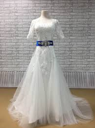 white wedding dress with royal blue sash hite lace half sleeve beaded fit and flare tulle wedding dress
