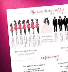 modern wedding program modern day wedding program bridal party silhouettes digital
