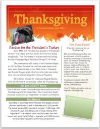 thanksgiving informational flyer with questions for middle school