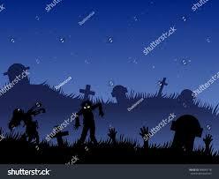 halloween silhouette background halloween background zombies tombstones on cemeteryvector stock